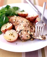 Photo of Greek lemon chicken thighs and potatoes by WW