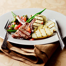 Photo of Barbecued lamb cutlets with okra and potatoes by WW