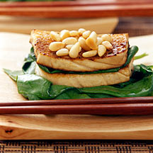 Photo of Seared tofu with garlic, spinach and pine nuts by WW
