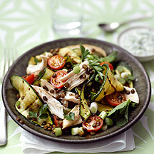 Photo of Grilled courgette, lentil & chicken salad with raita dressing by WW