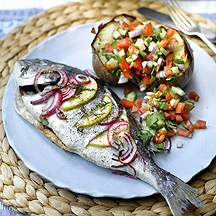 Photo of Roast sea bream with jacket potatoes and salsa by WW
