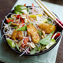 Asian Chicken Noodle Salad with Mint and Peanuts