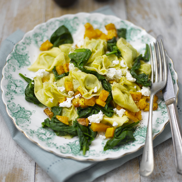 Photo of Spinach tortelloni with roasted squash and feta by WW