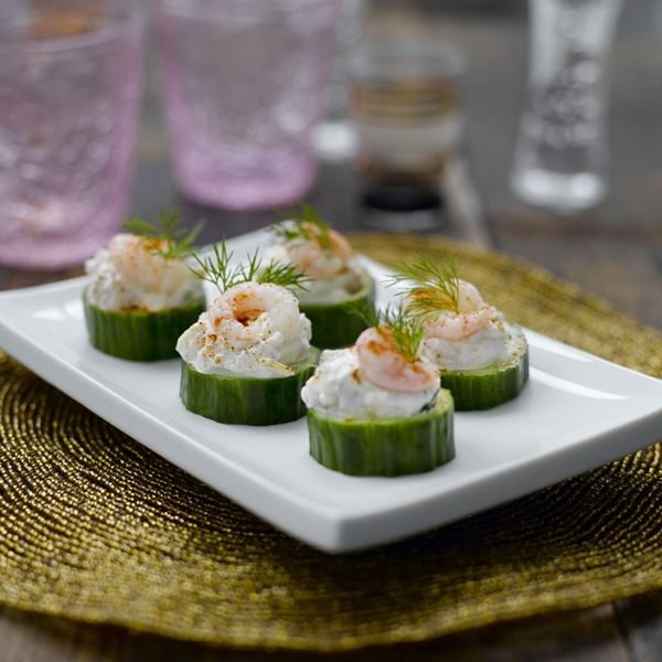 Prawn and cucumber canap s healthy recipe weight for Mini prawn cocktail canape