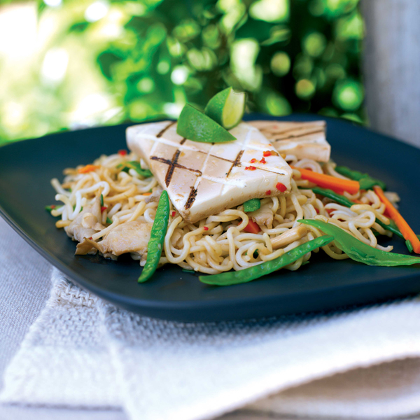 Photo of Griddled tofu with colourful noodles by WW