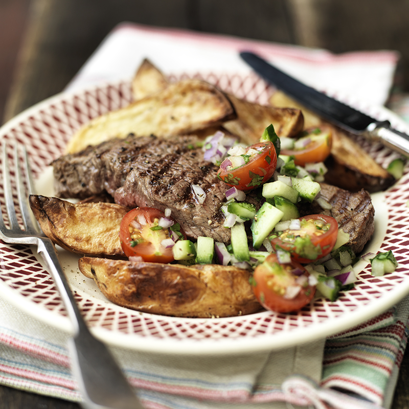 Photo of Char-grilled steak with crispy potato wedges by WW