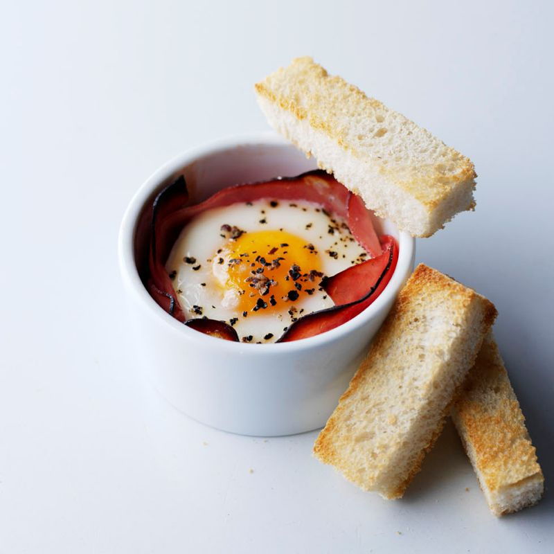 Photo of Eggs baked in roast ham with soldiers by WW