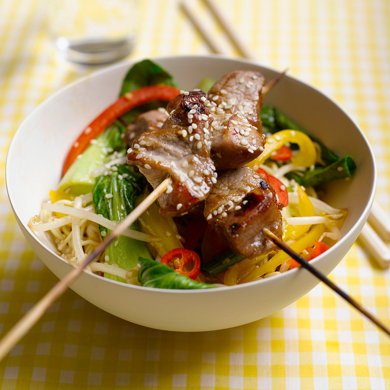 Photo of Sesame Pork Skewers with Chilli Stir Fry by WW
