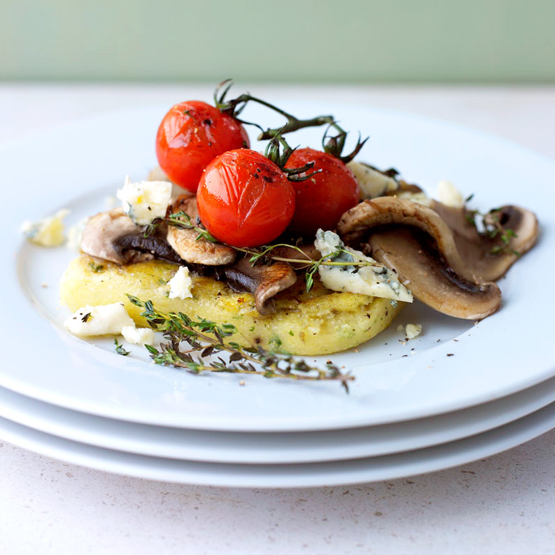 Photo of Griddled polenta with mushrooms, tomatoes & blue cheese by WW