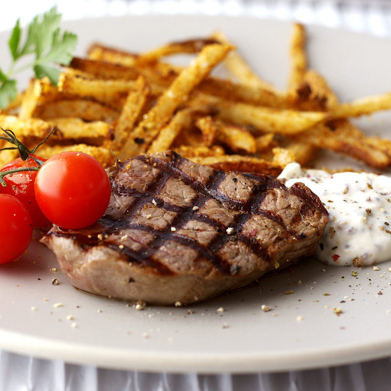 steak and chips with mustard mayo healthy recipe