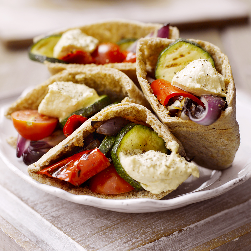 Photo of Wholemeal pittas with houmous and chargrilled veg by WW