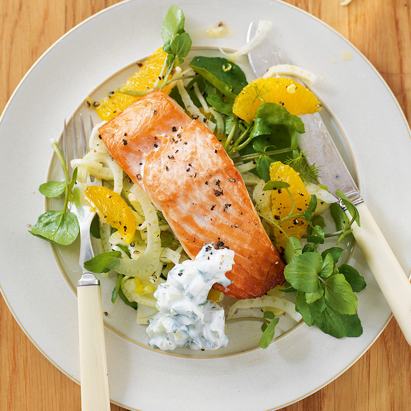 Salmon Salad With Cucumber Sauce Healthy Recipe Ww Uk