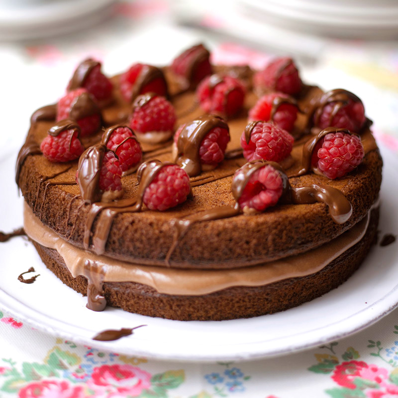 Magnificent Chocolate Cake With Raspberries Healthy Recipe Ww Uk Personalised Birthday Cards Paralily Jamesorg
