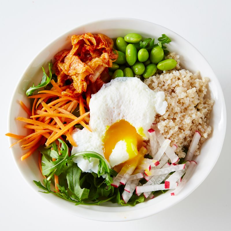 Photo of Quinoa, soya beans & poached egg by WW