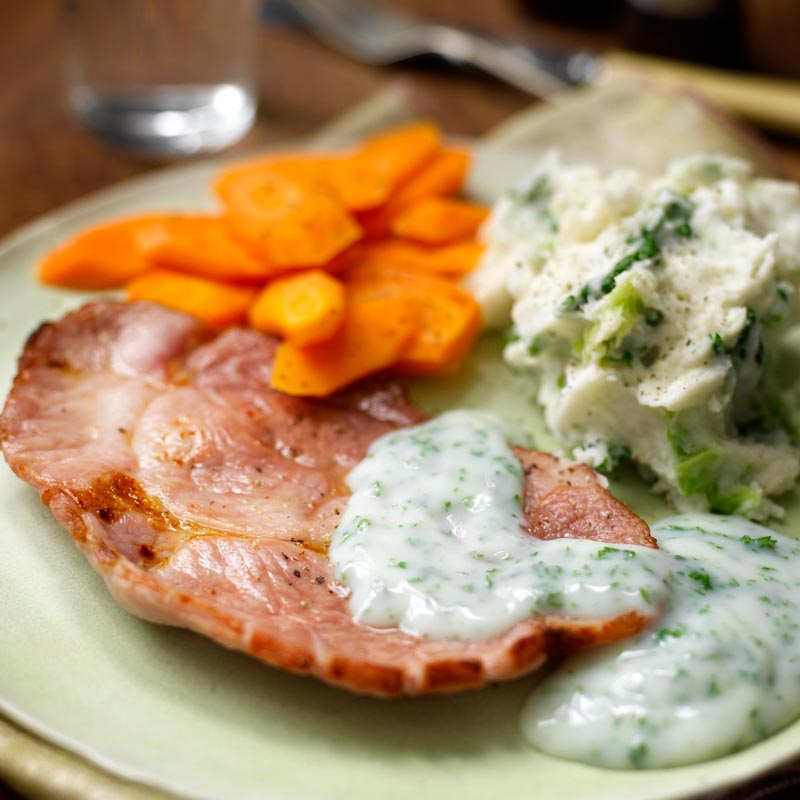 Photo of Gammon steaks with veg  & parsley sauce by WW