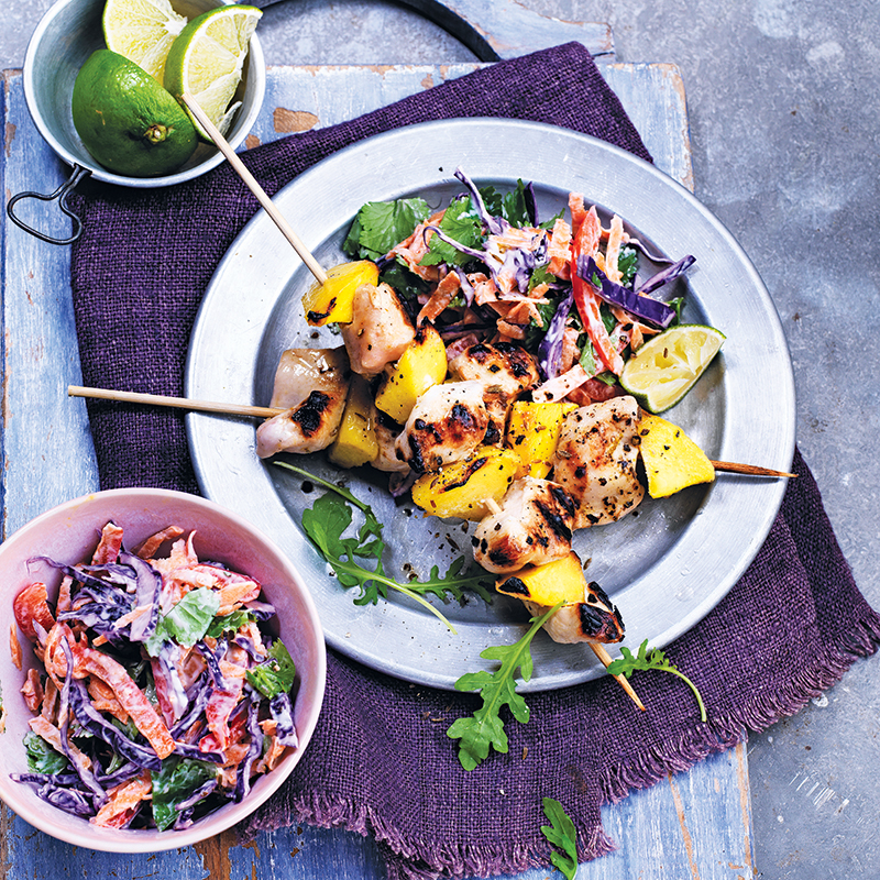 Photo of Chicken & mango kebabs with coleslaw by WW