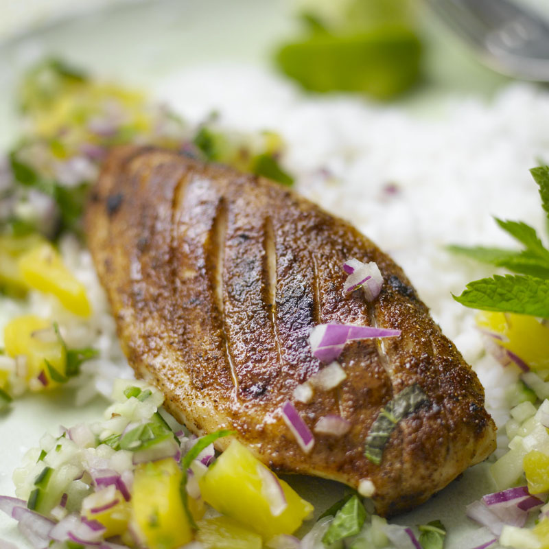 Photo of Caribbean chicken with rice & pineapple salsa by WW