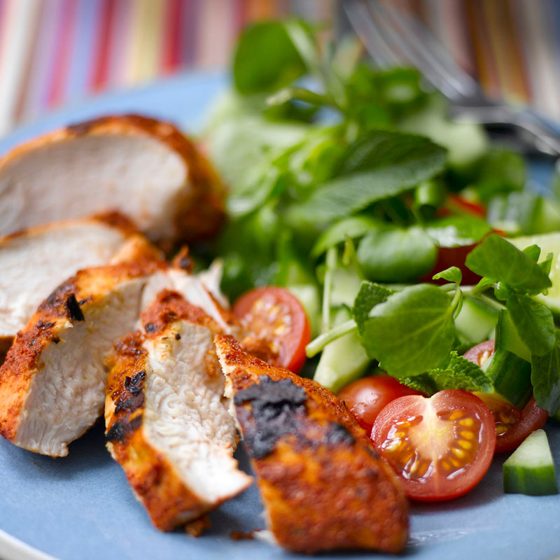 Photo of Chicken Tandoori with mint, cucumber and coriander salad by WW