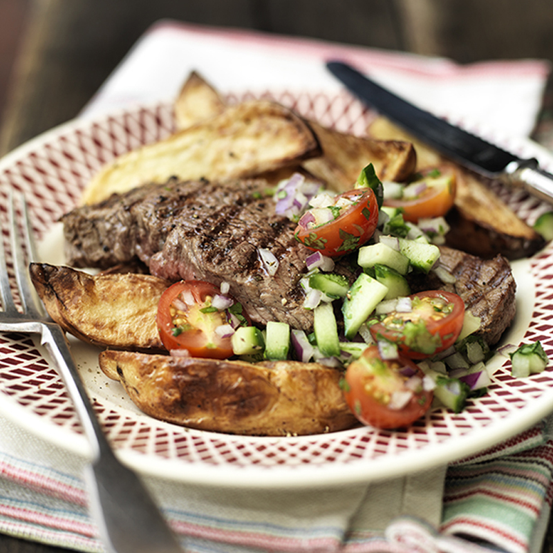 Photo of Chargrilled Steak with Crispy Potato Wedges. by WW