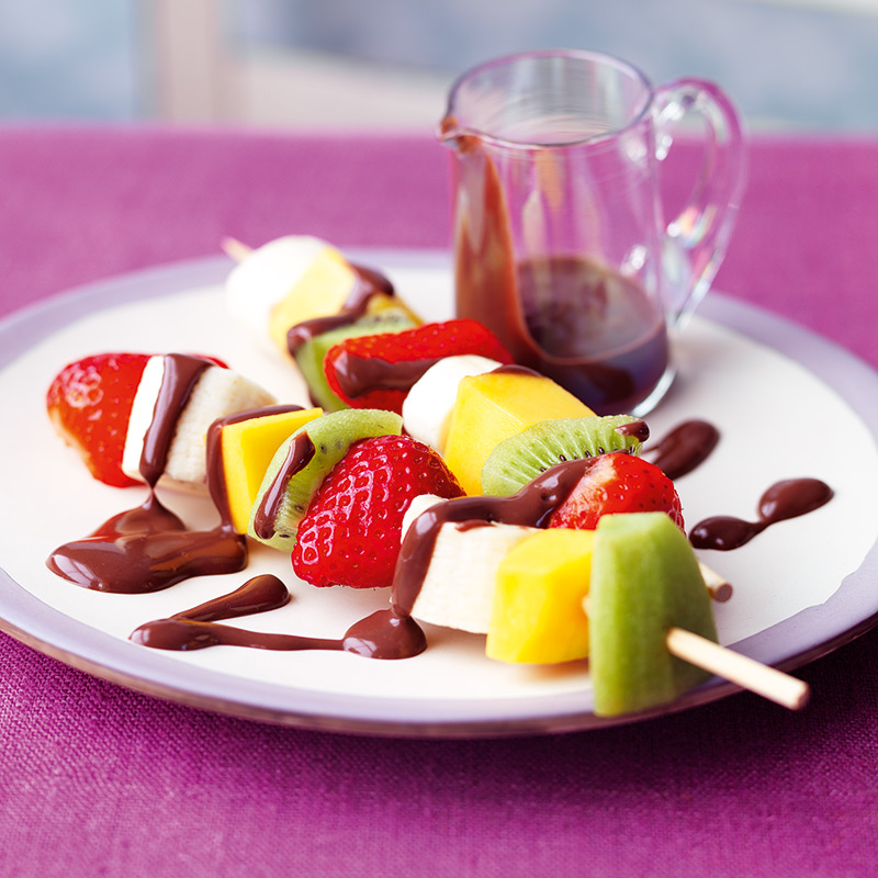 Photo of Fresh fruit skewers with hot chocolate drizzle by WW