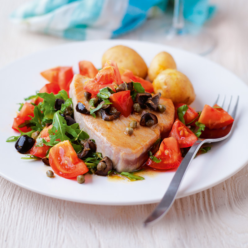 Photo of Pan-fried tuna with warm tomato and caper dressing by WW